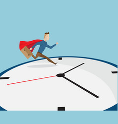 Businessman with red cape running on clock vector