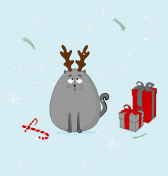 christmas cat with horn and presents vector image vector image