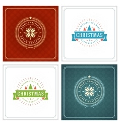 Christmas Typography Greeting Cards Design Set vector image vector image