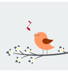 Cute bird sings vector image vector image