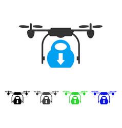 drone drop cargo flat icon vector image vector image
