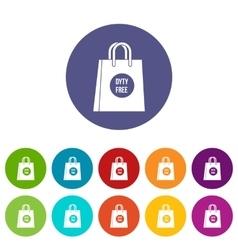 Duty free shopping bag set icons vector image vector image