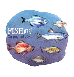 Fishing logo design template fresh fish or vector