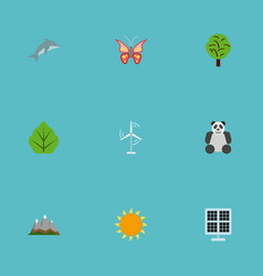 Flat icons sun power landscape bear vector