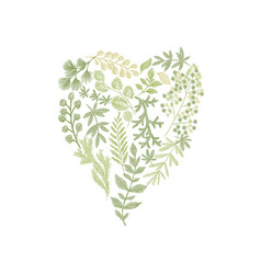 Floral hand drawn composition in form of heart vector