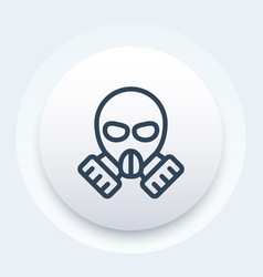 Gas mask icon in linear style vector