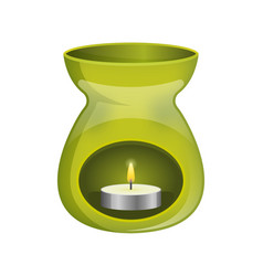 Green aromatherapy lamp oil burner spa icon flat vector