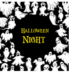 Halloween ghost pattern night poster vector