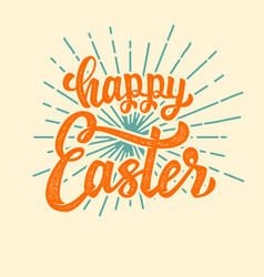 Happy easter hand drawn lettering phrase isolated vector