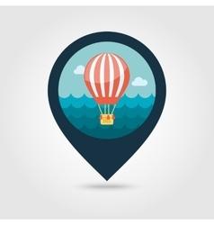 Hot air balloon pin map icon summer vacation vector