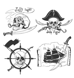 Labels pirate theme hand drawing vector
