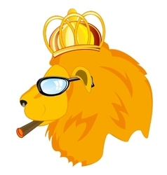 Lion in corona and spectacles vector