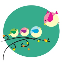little bird family vector image vector image