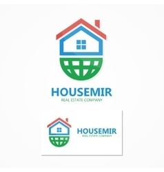 Logo home with earth vector