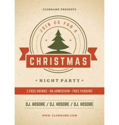 Merry Christmas party poster retro typography and vector image vector image