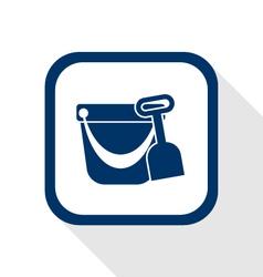 Pail shovel flat icon vector