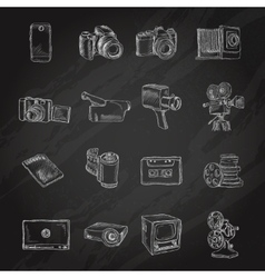 Photo video icons chalkboard vector