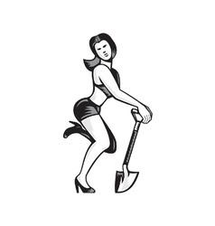 Pin-up Girl With Shovel Spade Retro vector image vector image