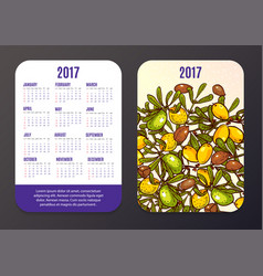 pocket calendar with eco-products fruits and vector image