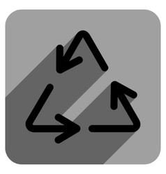 Recycle Arrows Flat Square Icon with Long Shadow vector image