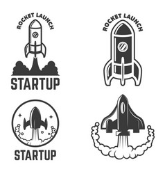 set of emblems with rocket launch startup vector image vector image