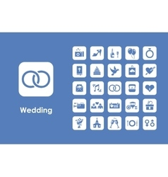 Set of wedding simple icons vector