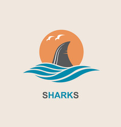 shark fin icon vector image vector image