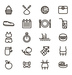 slimming signs black thin line icon set vector image vector image