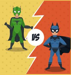 superheros versus match cartoon vector image
