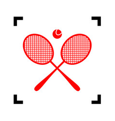 Tennis racket sign red icon inside black vector
