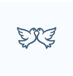 Wedding doves sketch icon vector
