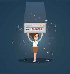 Woman girl win big money holding cheque cartoon vector