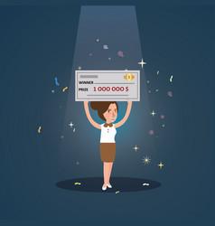woman girl win big money holding cheque cartoon vector image vector image