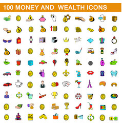 100 money and wealth icons set cartoon style vector