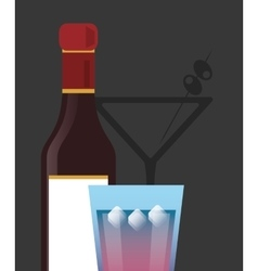 Cocktail drink glass and liqueur bottle image vector