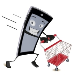 Mobile phone runs with empty shopping cart vector