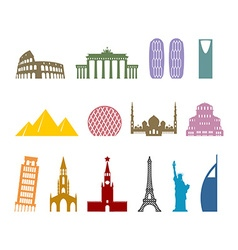 Landmark travel set Architectural monuments Known vector image