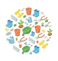 garden tools background vector image