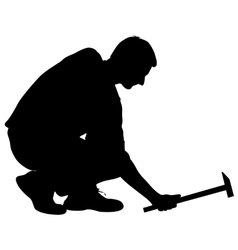 Silhouette man with hammer on a white background vector image