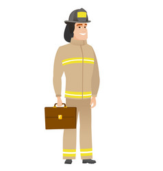 Caucasian firefighter holding briefcase vector