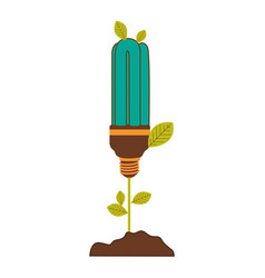 Plant stem with leaves and fluorescent bulb with vector