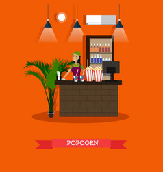 popcorn concept in flat style vector image
