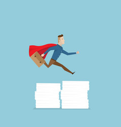 Businessman in red cape running and jumping over vector