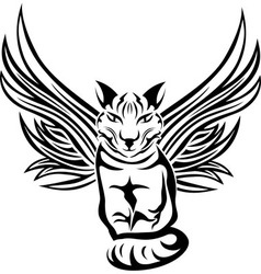 Cat with wings tattoo stencil vector
