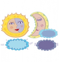 Sun moon and clouds vector