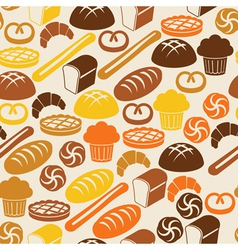 Seamless retro pattern with fresh bread vector