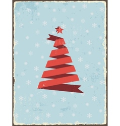 Christmas vintage card with ribbon tree vector