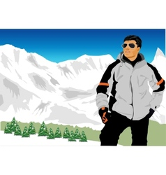 Skiing in caucasus mountains vector