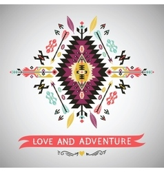 Decorative colorful element in aztec style vector