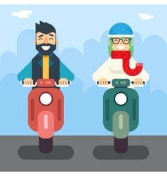 Male female hipster happy smiling character retro vector
